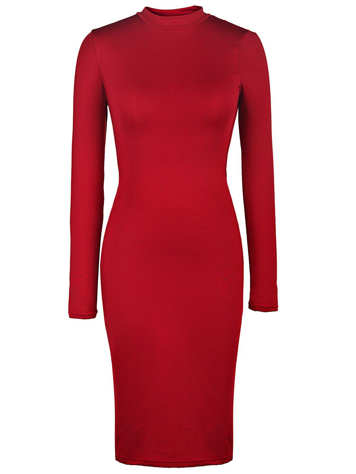 Charming Back Plaid Hollow Out Solid Color Long Sleeve Bodycon Dress For WomenWomen<br><br><br>Size: S<br>Color: WINE RED