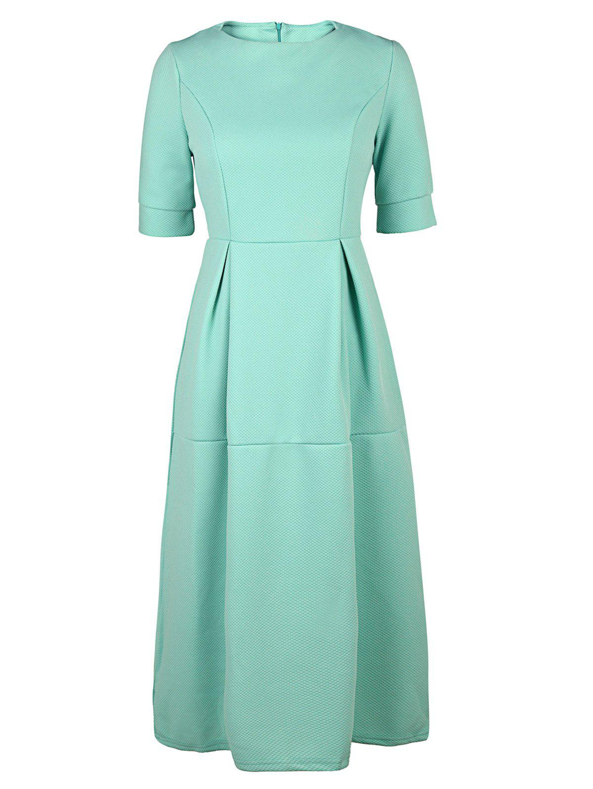 Half Sleeve Round Neck Midi Puffball Dress - LIGHT GREEN L