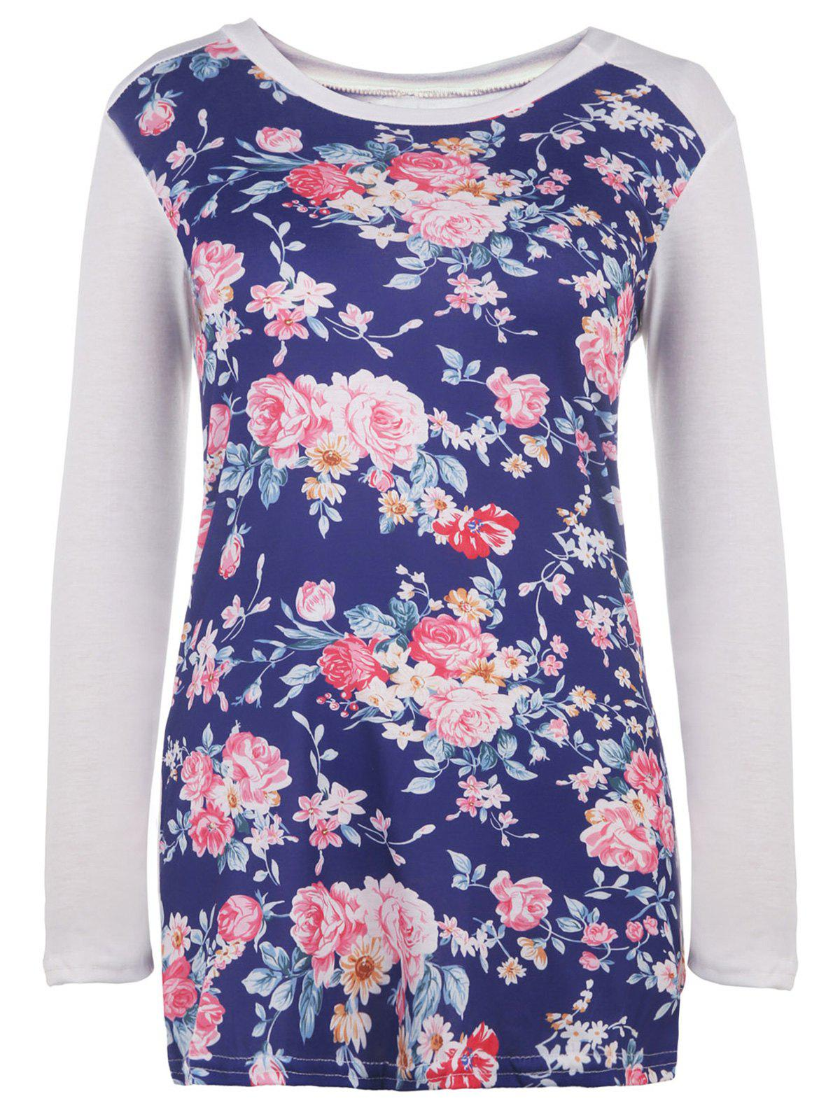 Chic Floral Printed Long Sleeve Baseball T-Shirt For Women