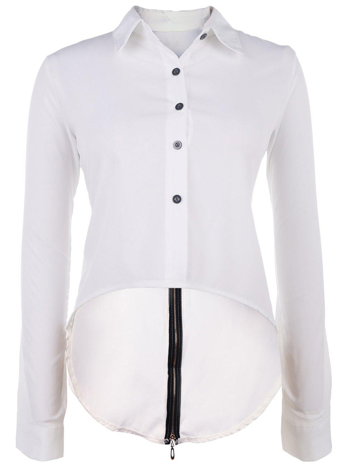 Chic Women's Shirt Collar Long Sleeve Hign-Low Back Slit Blouse - WHITE XL
