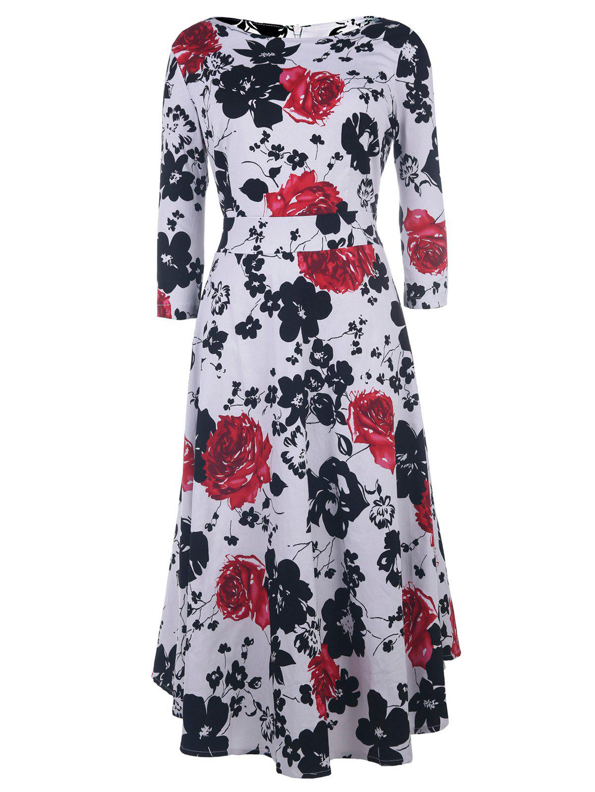 Vintage Style 1/2 Sleeve Round Neck Floral Print Women's Dress - RED S