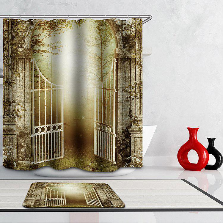 Novelty Door of Jungle Digital Printing Mouldproof Shower Curtain For Bathroom - COLORMIX