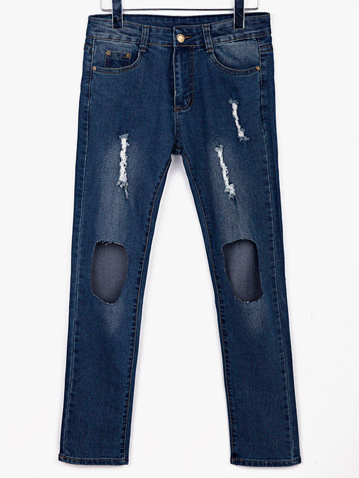 Stylish Mid-Waisted Broken Hold Design Frayed Women's Jeans