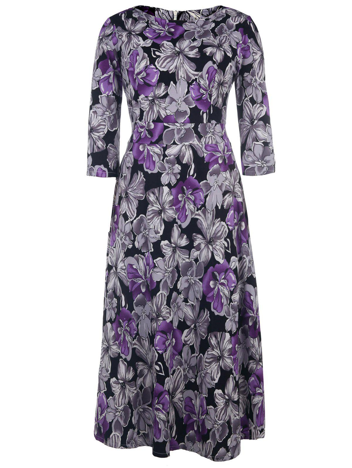 Vintage Style 1/2 Sleeve Round Neck Purple and Gray Flower Pattern Women's Dress - PURPLE L
