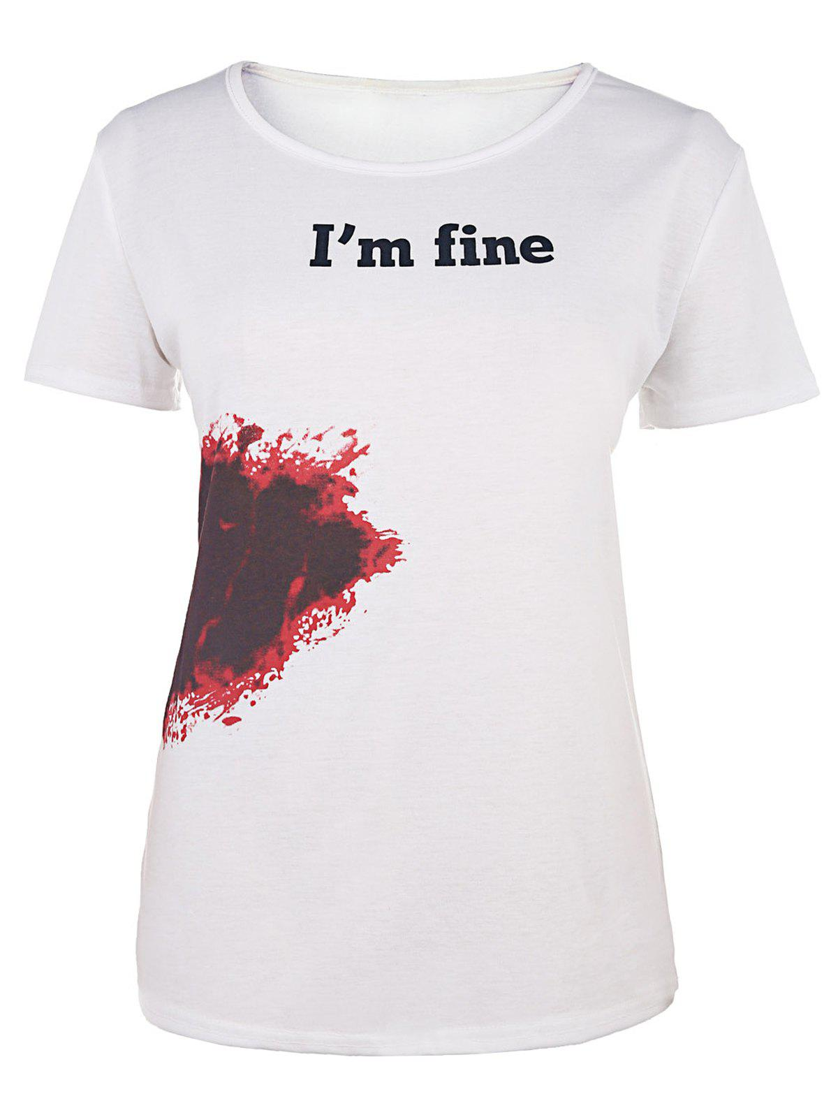 Casual Bloodstain Print Round Neck Short Sleeve T-Shirt For Women - WHITE L
