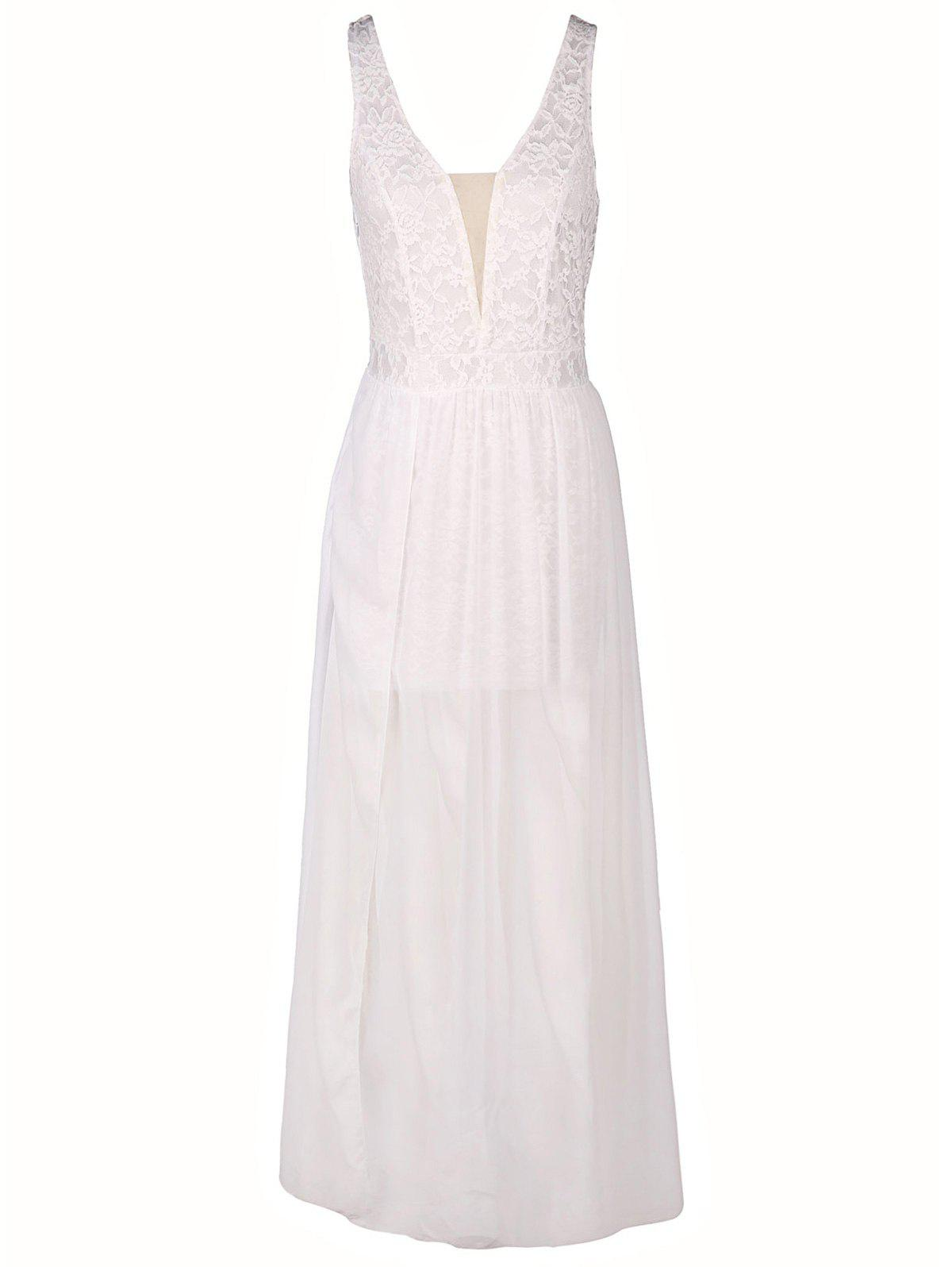 Noble White Plunging Neck Gauze Spliced Slit Maxi Dress For Women - WHITE XL