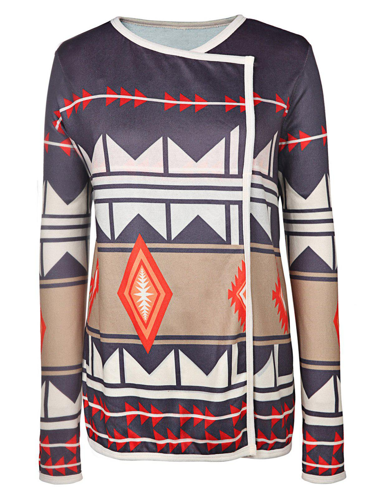 Trendy Long Sleeve Turn-Down Neck Geometric Pattern Women's Cardigan - COLORMIX L