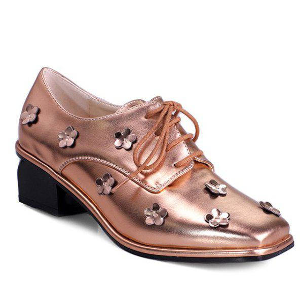 Fashionable Flowers and Square Toe Design Women's Pumps - GOLDEN 37
