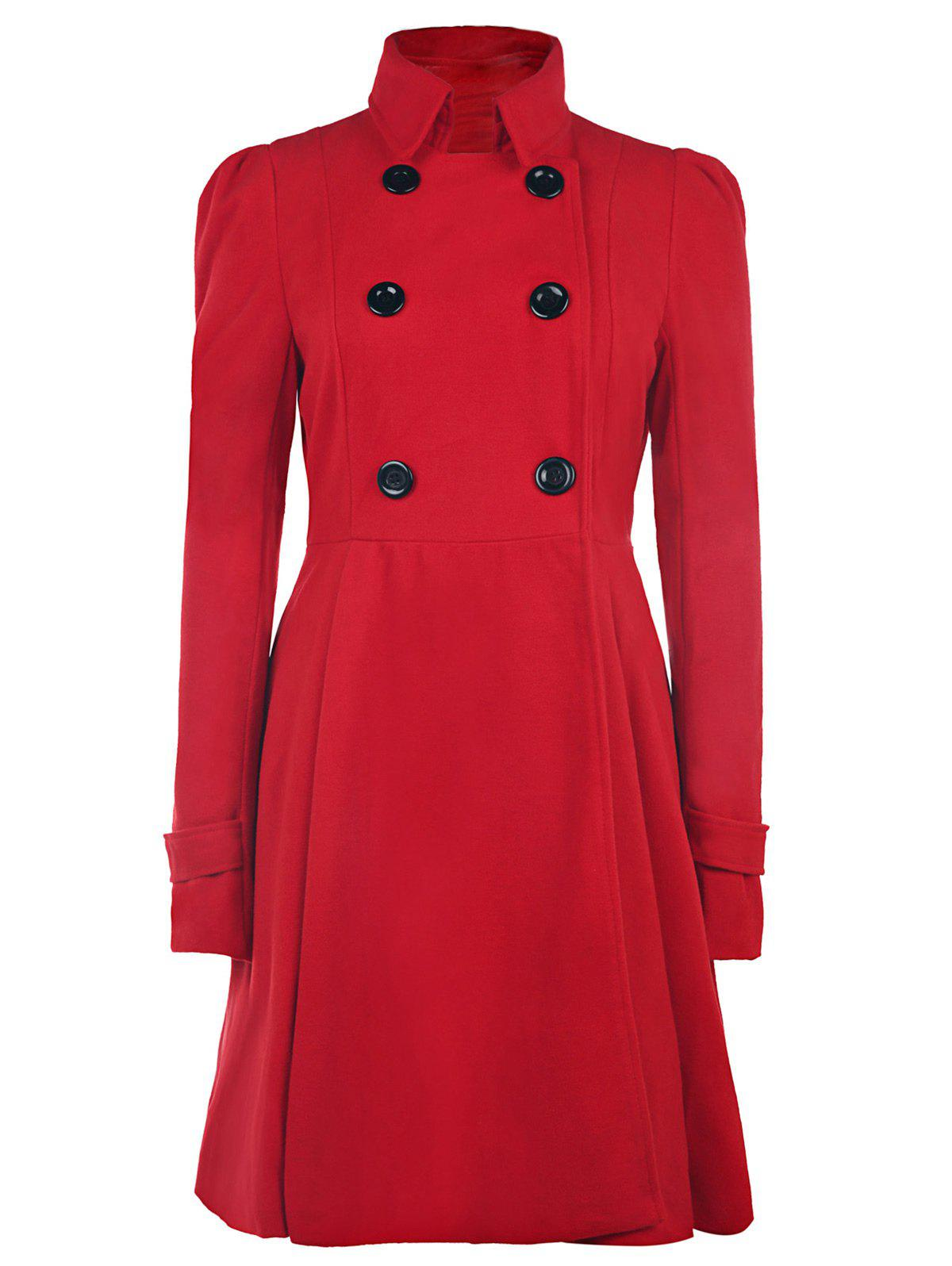 Double Breasted Fit and Flare Wool Coat - RED M