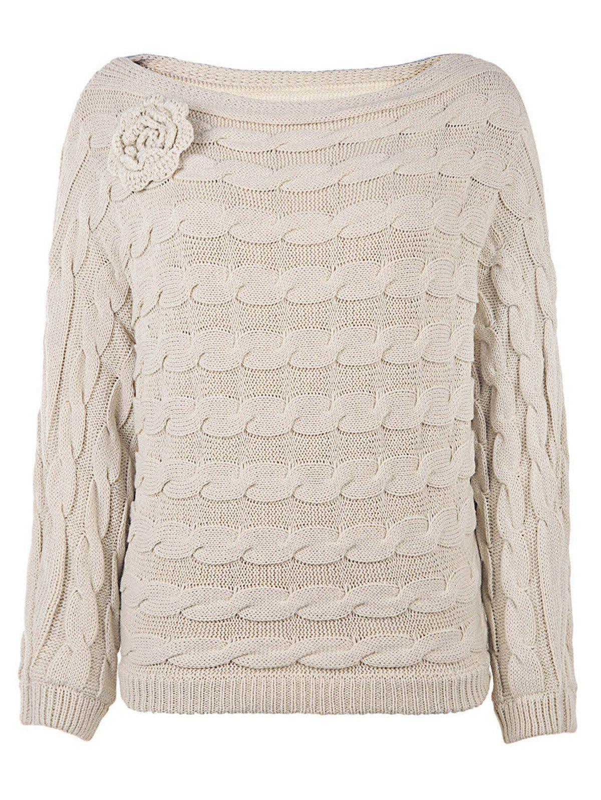Slash Neck Knit Jumper Sweater - WARM WHITE ONE SIZE