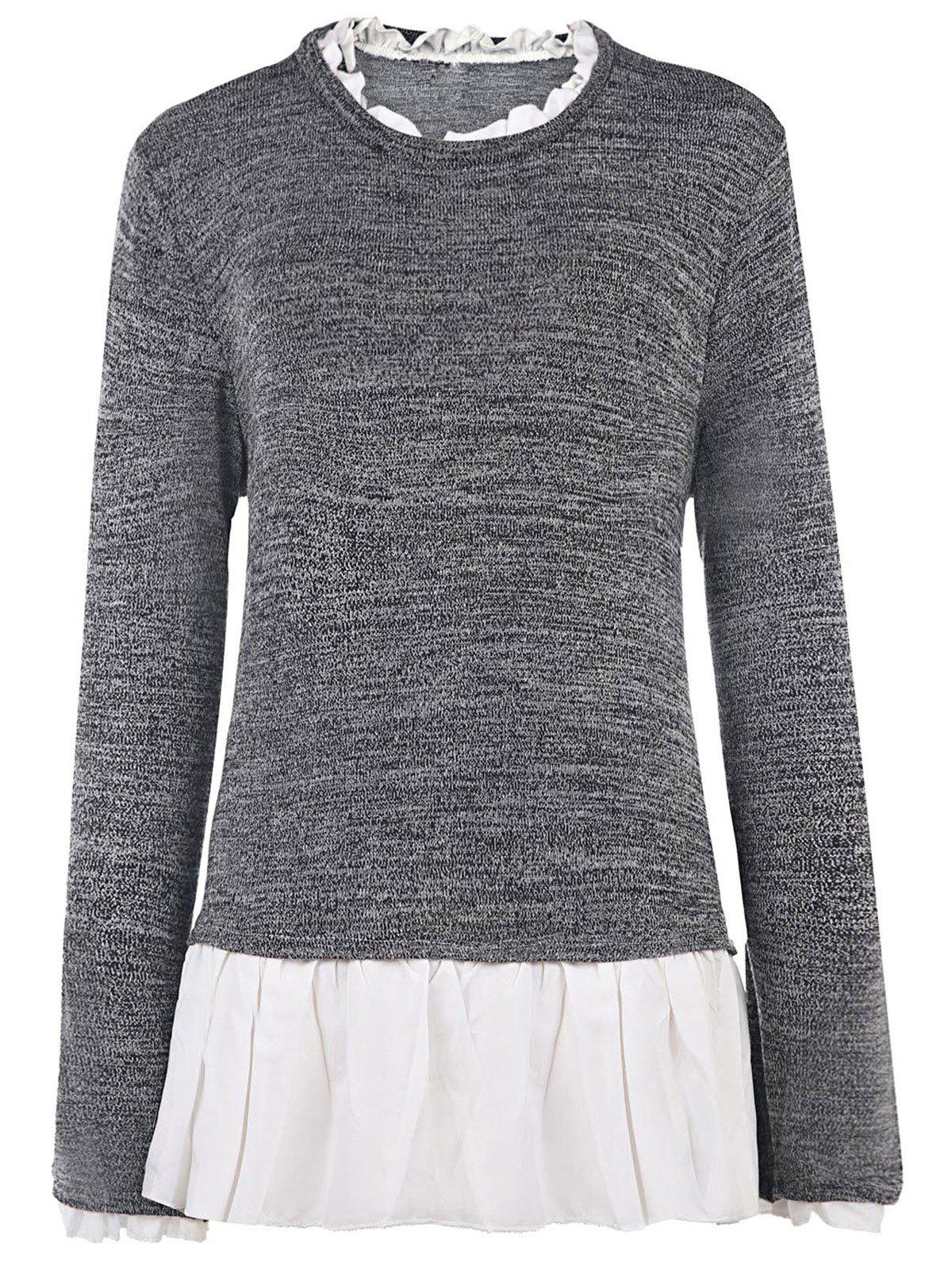 Stylish Long Sleeve Flounce Splicing Pullover Sweater For Women - S GRAY