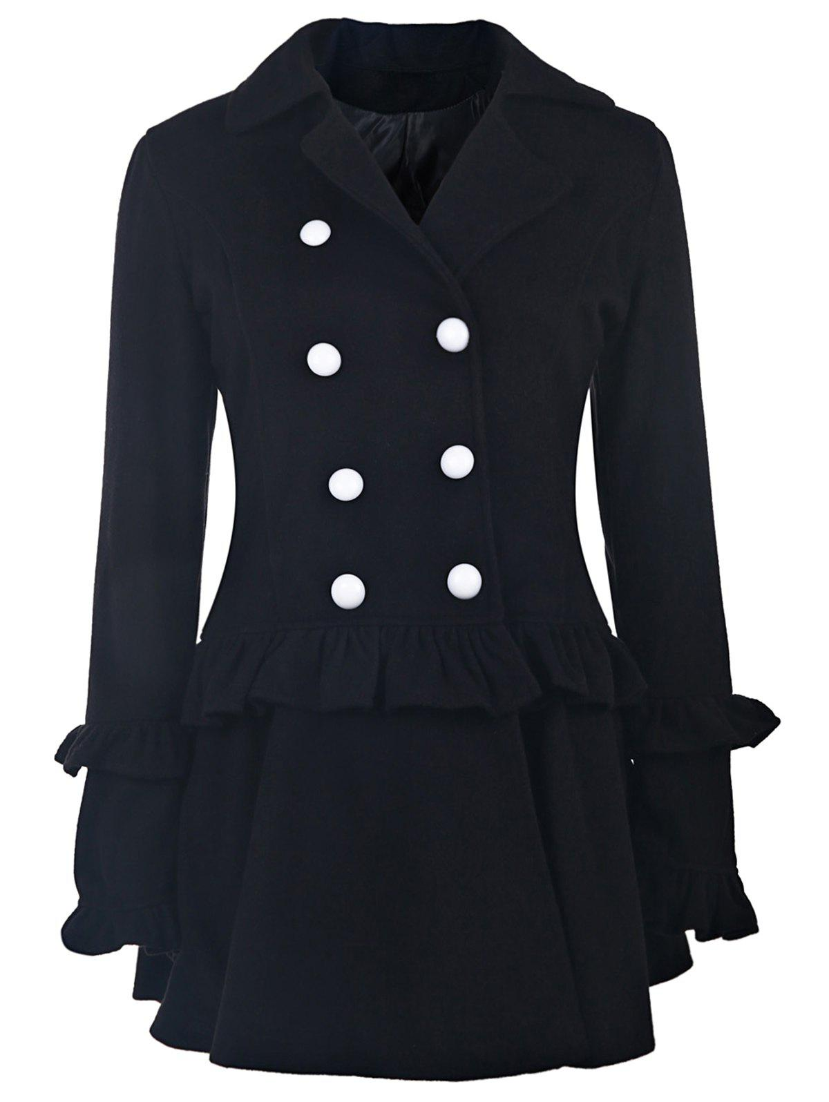 Elegant Long Sleeve Turn-Down Collar Double-Breasted Ruffles Women's Black Coat - BLACK M