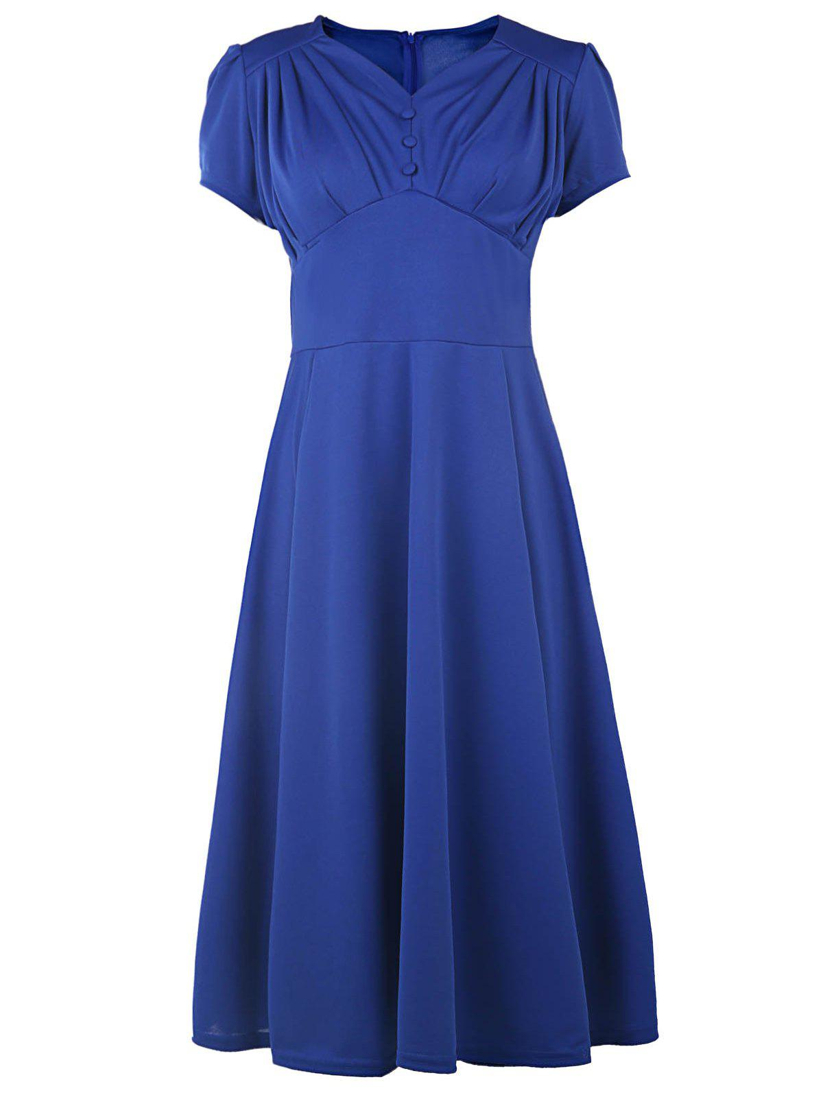 Chic Short Sleeve V-Neck Ruched Solid Color Women's Dress - BLUE M