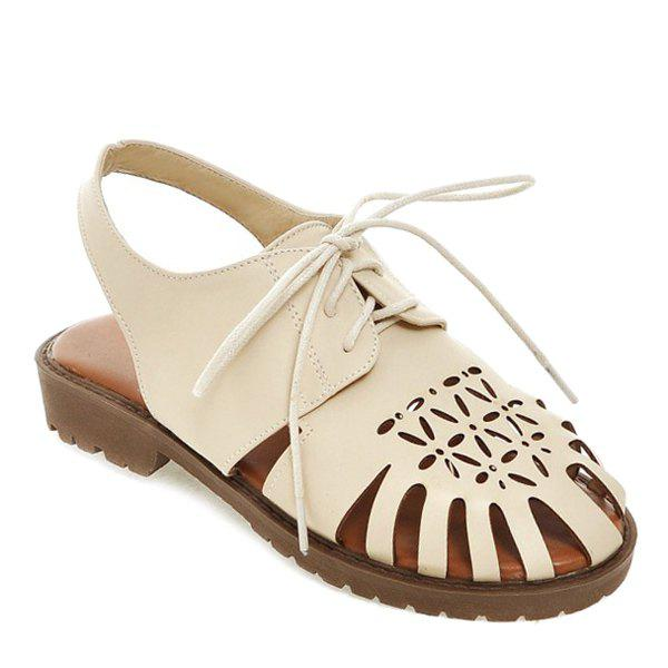 Leisure Lace-Up and Hollow Out Design Women's Sandals - BEIGE 38