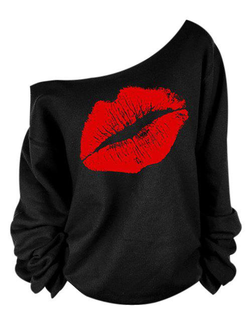 Oblique Shoulder Long Sleeve Lip Print Women T-Shirt - RED 2XL