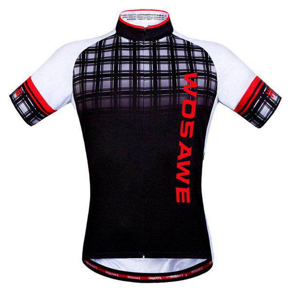 Hot Summer Sportswear Jerseys+Shorts Plaid Pattern Cycling Sets For Outdoor Sport - RED 2XL
