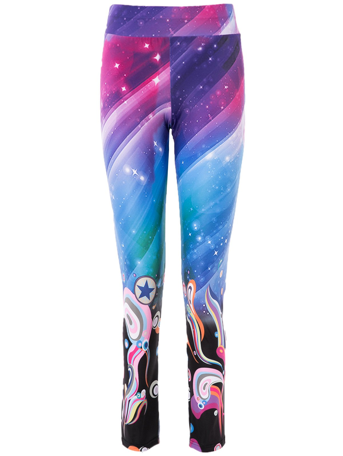 High Waist Trippy Print Bodycon Yoga Pants For Women - COLORMIX M