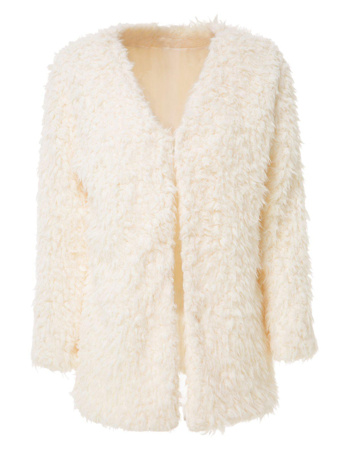 Trendy Women's Collarless Long Sleeve Faux Lambswool Coat - OFF WHITE ONE SIZE(FIT SIZE XS TO M)