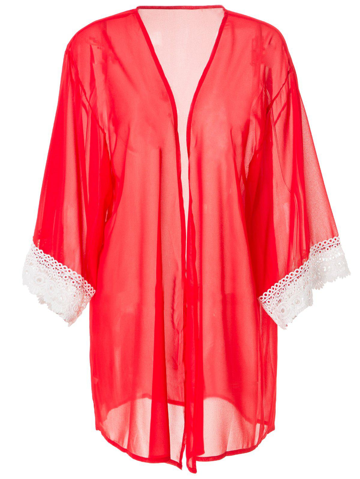 Stylish Collarless 3/4 Sleeve Laciness Loose-Fitting Women's Kimono Blouse - RED S