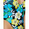 Sweet Floral Print Halter Neck Women's One-Piece Swimwear - YELLOW L