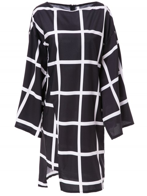 Elegant Plaid Printed Boat Collar Batwing Sleeve Midi Dress For Women - BLACK XL