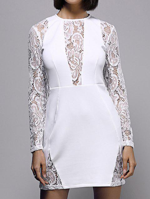 Bodycon Lace Spliced ​​Long Sleeve Round Neck Robe Femme - Blanc L