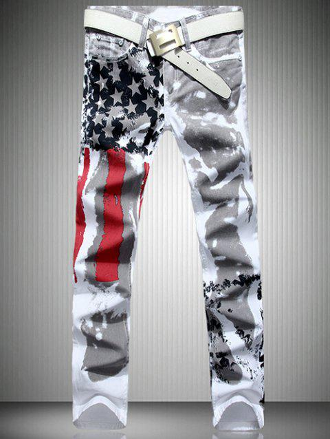 Men's Casual Colorful Printing Zip Fly Straight Legs Denim Pants - WHITE 34