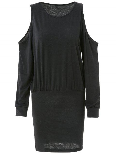 Trendy Long Sleeve Round Neck Pure Color Knitted Women's Dress - BLACK S