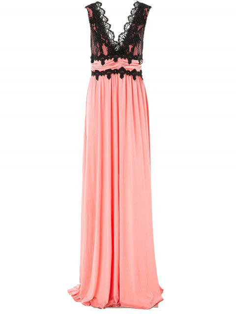 Charming Pluning Neck Sleeveless Lace Spliced Women's Maxi Dress - PINK M