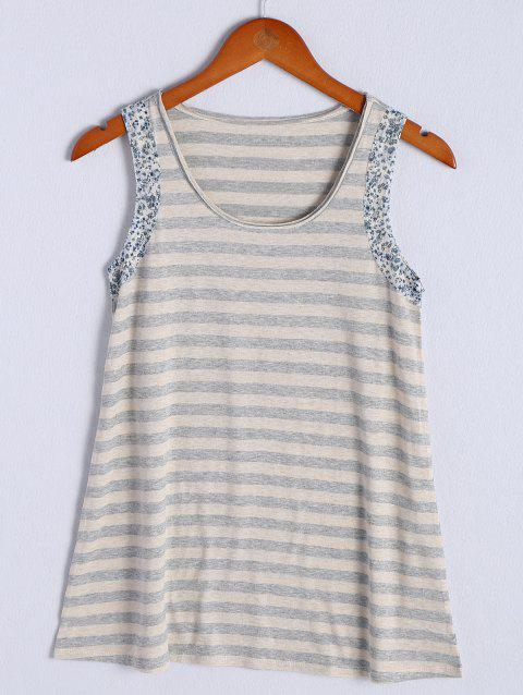 Simple Women's Scoop Neck Striped Floral Hem Tank Top - STRIPE S