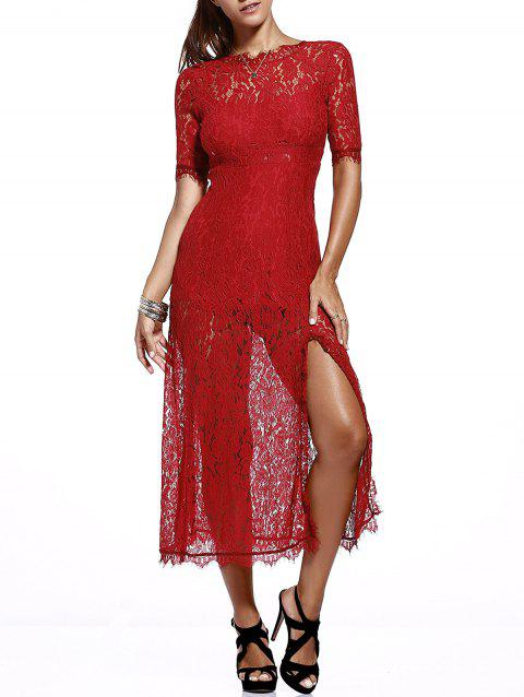 Elegant Women's Round Neck Cut Out Slit Lace Dress - RED ONE SIZE(FIT SIZE XS TO M)
