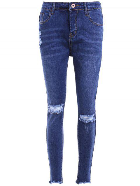 Stylish Pocket Design Skinny Slimming Broken Hole Women's Jeans - DENIM BLUE 28