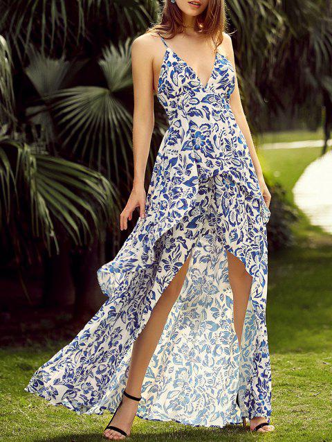 Full Print Sleeveless High Low Backless Maxi Dress - BLUE M