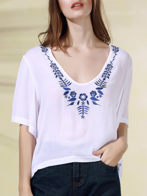 Trendy Embroidered 1/2 Sleeve V-Neck Women's T-Shirt - WHITE 2XL