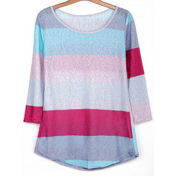 Stylish Scoop Neck 3/4 Sleeve Colored Striped Women's T-Shirt