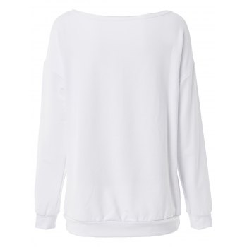 Casual Long Sleeve Scoop Collar Loose-Fitting Letter Pattern Women's Sweatshirt - WHITE WHITE