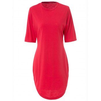 Sexy Red Round Collar Short Sleeve Dress For Women