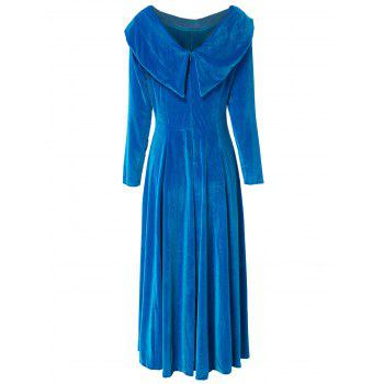 Charming Solid Color Slash Neck Long Sleeve Flare Midi Dress For Women - BLUE S