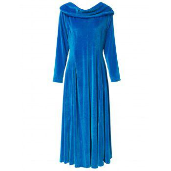 Charming Solid Color Slash Neck Long Sleeve Flare Midi Dress For Women - BLUE L
