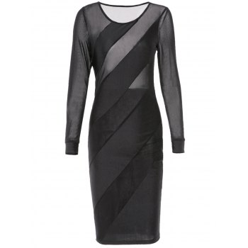 Sexy Jewel Neck See-Through Skew Striped Long Sleeve Bodycon Dress For Women