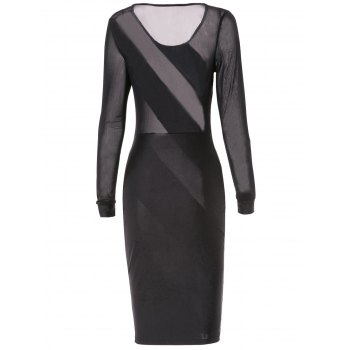 Sexy Jewel Neck See-Through Skew Striped Long Sleeve Bodycon Dress For Women - L L