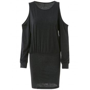 Trendy Long Sleeve Round Neck Pure Color Knitted Women's Dress