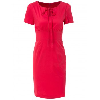Scoop Neck Short Sleeve Hollow Out Bodycon Dress For Women