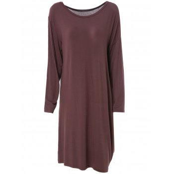Chic Solid Color Skew Neck Long Sleeve Loose Dress For Women