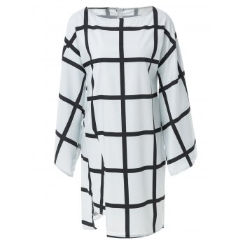 Elegant Plaid Printed Boat Collar Batwing Sleeve Midi Dress For Women