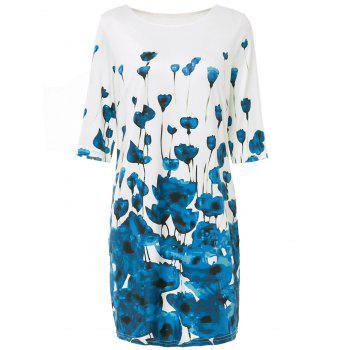 Stylish Women's Round  Neck Half Sleeve Floral Print Bodycon Dress