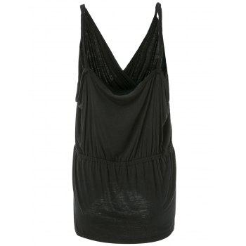 Casual Style Sleeveless Spaghetti Strap Ruched Solid Color Women's Tank Top - BLACK 2XL