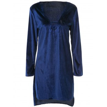 V-Neck Cut Out Pure Color Long Sleeve Asymmetrical Dress For Women