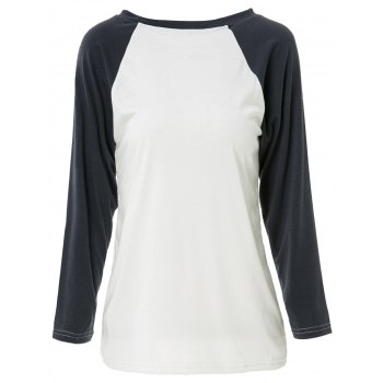 Casual Round Neck Long Sleeve Loose Color Block Women's T-Shirt - GREY/WHITE S