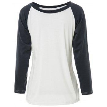 Casual Round Neck Long Sleeve Loose Color Block Women's T-Shirt